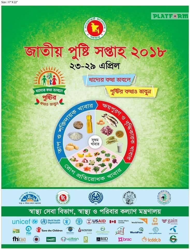 """""""খাদ্যের কথা ভাবলে পুষ্টির কথাও ভাবুন"""": ২৩-২৯ এপ্রিল, দেশব্যাপী জাতীয় পুষ্টি সপ্তাহ"""